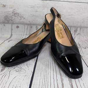 Salvatore Ferragamo Black Slingback Patent Shoe